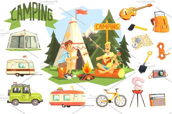 Two Guys Enjoying Camping In Forest Surrounded By Related Objects Icons
