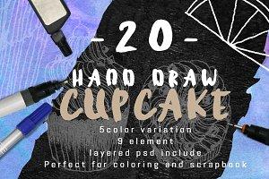 20 Handdraw cupcake inking