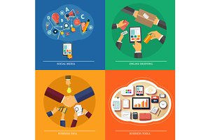 Set icons for web design, seo, media