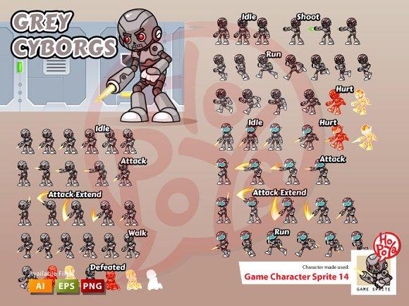 Grey Cyborgs Game Sprites