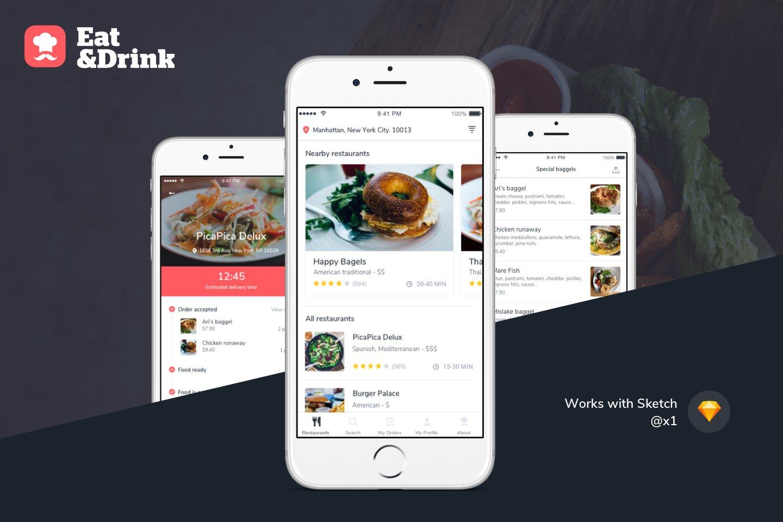 Ios restaurant delivery app ui kit web elements