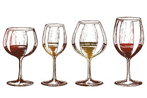 A set of wine glasses