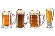 Set of mugs of beer