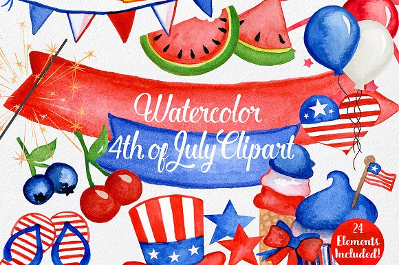 Watercolor 4th Of July Graphics
