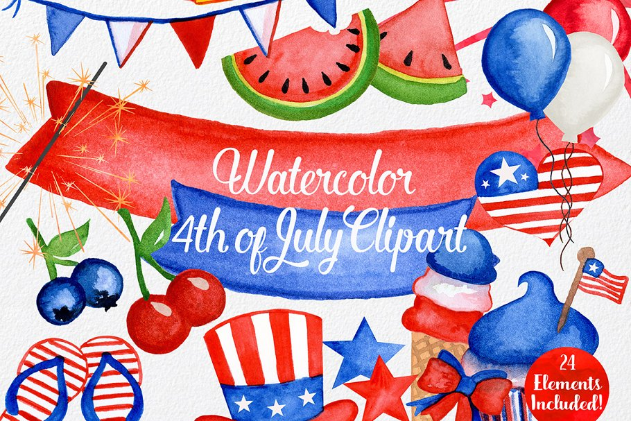 4th of july watercolor. Th graphics