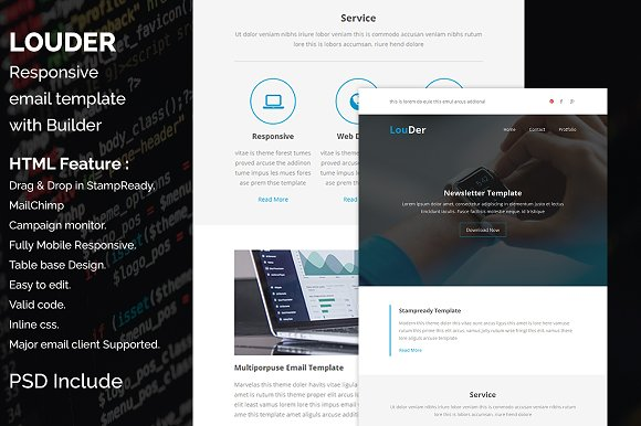 Louder Responsive Email Template Email Templates Creative Market