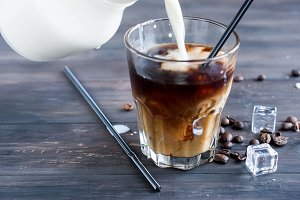 Coffee with ice and milk  in glass