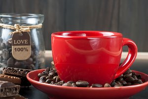 Red cup hot strong coffee
