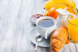 Healthy breakfast, coffee , fruit