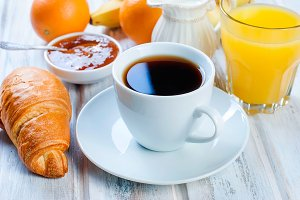 Healthy breakfast coffee, croissant