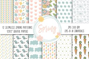 Spring Pattern Digital Paper Pack
