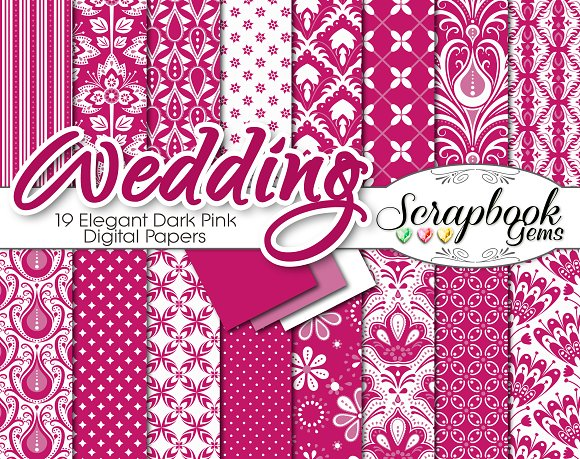 Pink Floral Damask Digital Papers