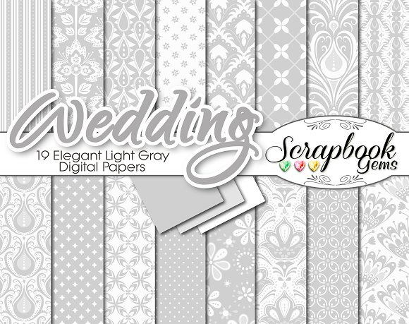 Gray Floral Damask Digital Papers