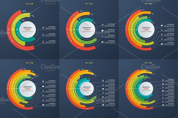 Set Of Circle Informative Infographic Charts