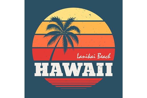 Hawaii Lanikai beach tee print with…