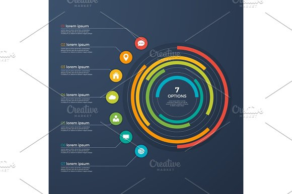 Presentation Infographic Circle Chart 7 Options