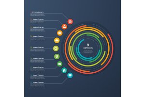 Presentation infographic circle chart 9 options.