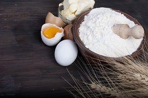 Baking background, eggs ears, yolk