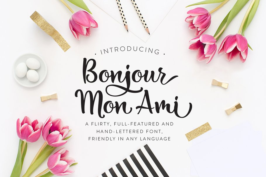 Bonjour Mon Ami Script Fonts Creative Market