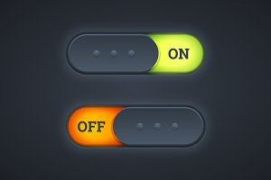 On and off switch toggle buttons