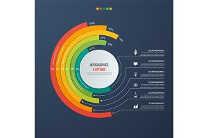 Circle informative infographic design with 6 options