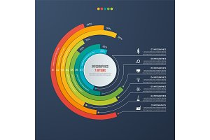 Circle informative infographic design with 7 options