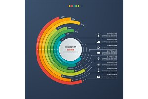 Circle informative infographic design with 8 options on dark bac