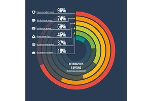 Circle informative infographic template 6 options on dark backgr