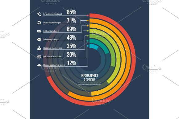 Circle Informative Infographic Template 7 Options On Dark Backgr