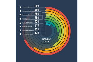 Circle informative infographic template 8 options on dark backgr