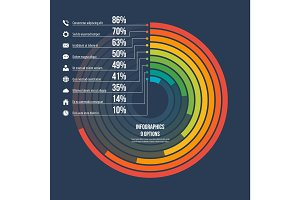 Circle informative infographic template 9 options on dark backgr