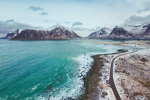 Scagsanden beach in Lofoten islands