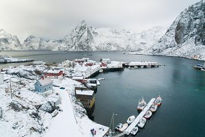 Aerial view of Hamnoy village in winter
