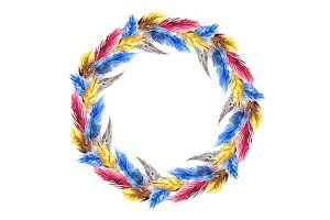 Watercolor colorful feather wreath
