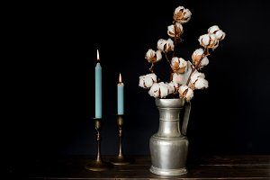 Cotton with candles