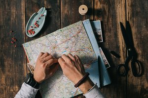 Planning trip with map