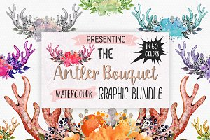 Watercolor Antler Floral Graphics