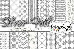 Silver Foil Pattern Digital Papers