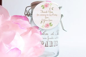 Watercolor Flowers thank you tag