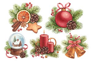 Christmas patterns and illustration