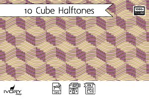 Cube Halftones Seamless Patterns