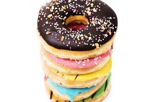 A stack of donuts isolated