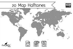 Map World Halftone Seamless Pattern