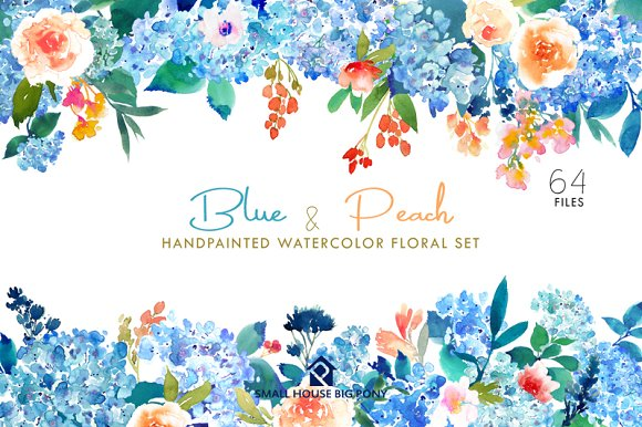 Blue Peach Watercolor Floral Set Illustrations Creative Market