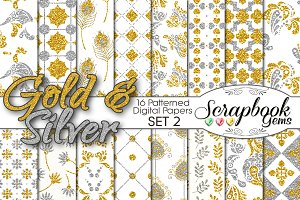 Gold & Silver Pattern Digital Papers