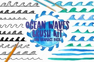 Ocean Waves Watercolor Brush Kit