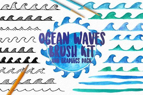 Ocean Waves Watercolor Brush Kit