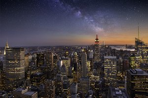 Milky way over Manhattan, New York