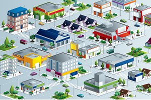Vector  Isometric City neighborhood