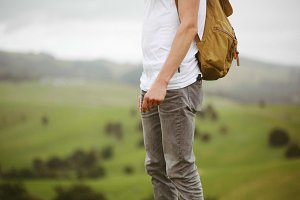 Backpacker guy outdoors